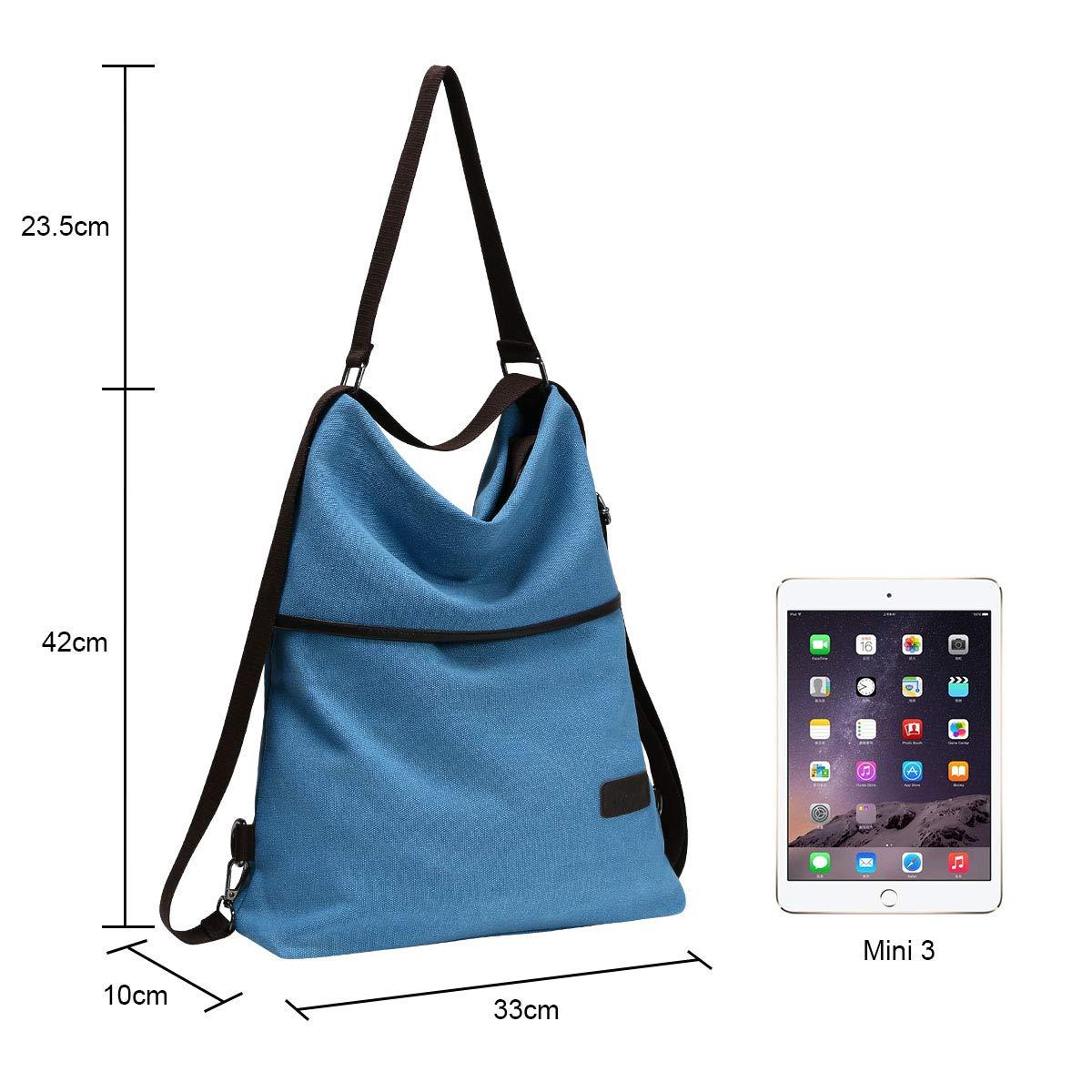 URAQT Bolsos de Mujer Mujer Lona Microfibra Multifuncional Casual Bolso de Cuero de Gran Capacidad Bolsas de Hombro Mochila Azul Mochila de Lona