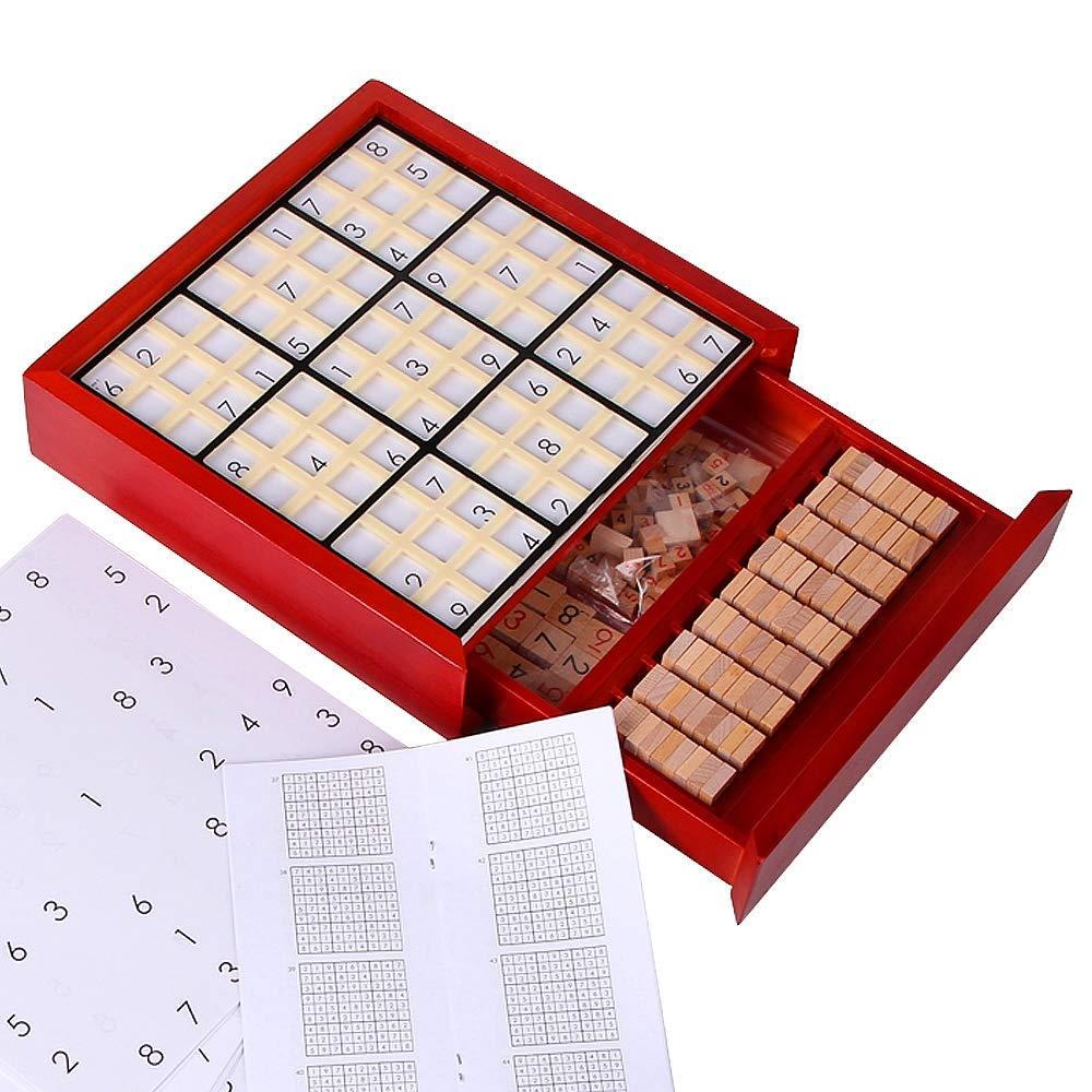 CAI-1 Hölzernes Sudoku Puzzlespielspiel, rotes pädagogisches Spielzeug mit Fach-Zahl Würfel-Fliesen, Buche, 320 Fragen 320 Questions