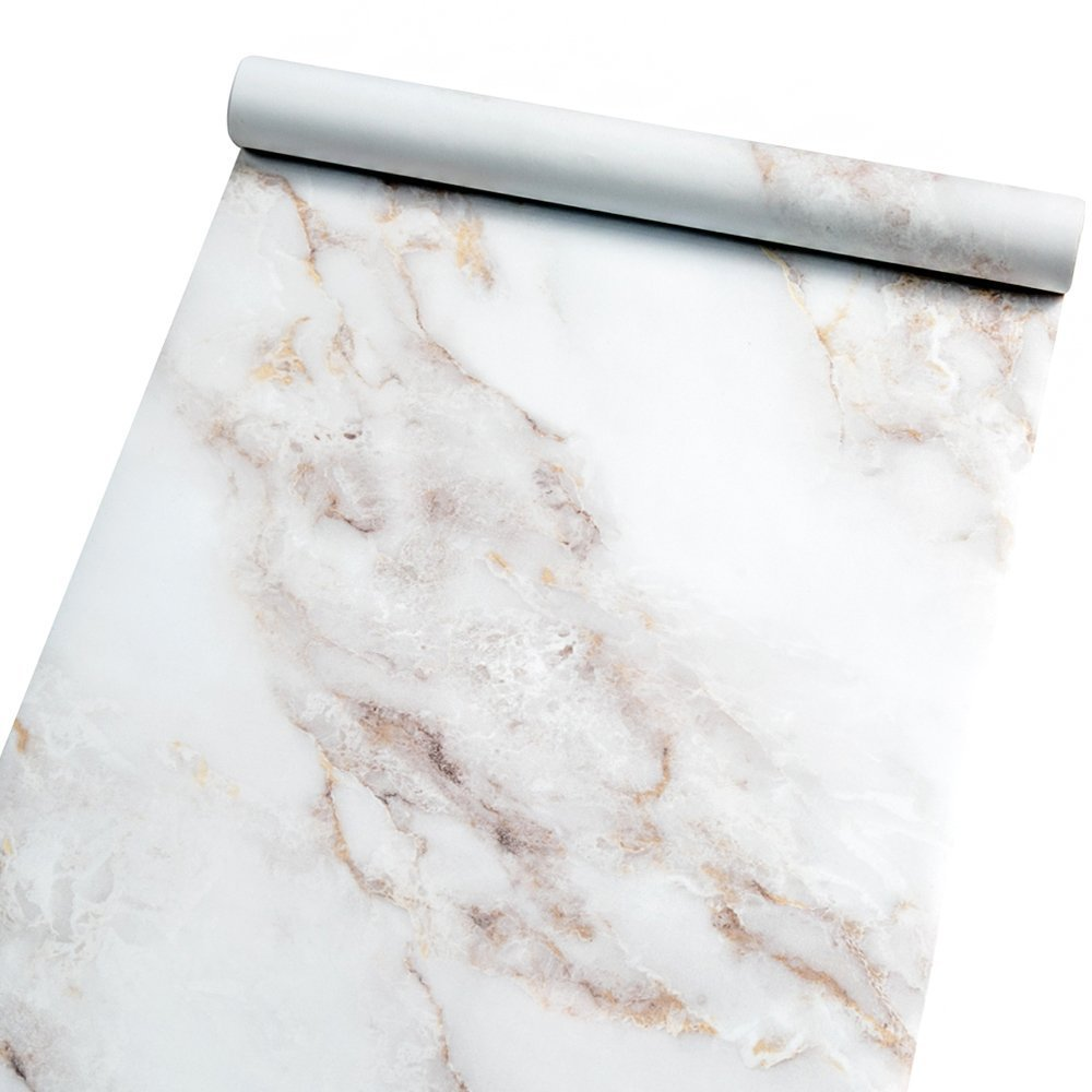 Marble Contact Paper Film Peel and Stick Countertops Vinyl Wallpaper Sticker, Authentic White Granite Look, Durable,Waterproof for Home and Office