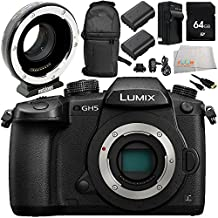 Panasonic Lumix DC-GH5 Mirrorless Micro Four Thirds Digital Camera with Metabones T Speed Booster XL 0.64x Adapter 9PC Accessory Bundle – Includes 64GB SD Memory Card + 2x Replacement Batteries + MORE