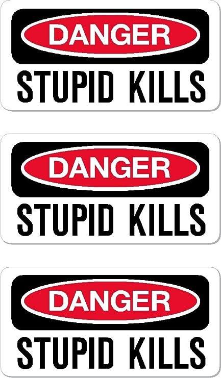 Danger stupid kills funny hard hat helmet stickers 3
