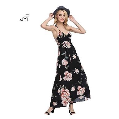 092056a5e9406 Women Floral Printed Maxi Dress 2018 Summer Sexy Deep V Neck Spaghetti Strap  Beach Long Maxi