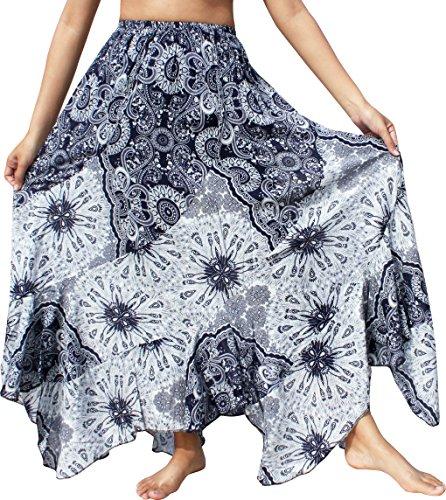 Raan Pah Muang RaanPahMuang Long Flowing Beach Skirt Bold Viscose Prints Summer Mixed Art, Medium, Dark Blue
