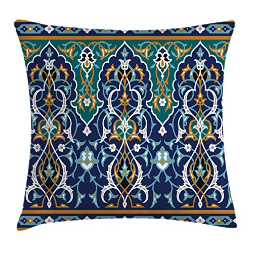 Ambesonne Moroccan Throw Pillow Cushion Cover, Ethnic Oriental Figure Petals Hippie Vintage Tribal Mosaic Design, Decorative Square Accent Pillow Case, 36 X 36 Inches, Blue Mustard ()