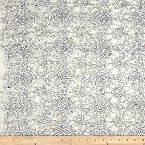 Ben Textiles Sequin Lace Fabric by The Yard, Silver (Ben Lace Costume)