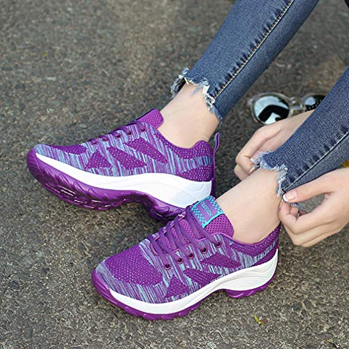Climbing Purple Sneakers Women's Mesh GIY Outdoor Running Athletic Slip Lightweight Hiker Trail Shoes Non Hiking Sf7SAgqw