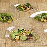 BalsaCircle 20 pcs 10.5-Inch Clear Plastic Oval Plates - Disposable Wedding Party Catering Tableware
