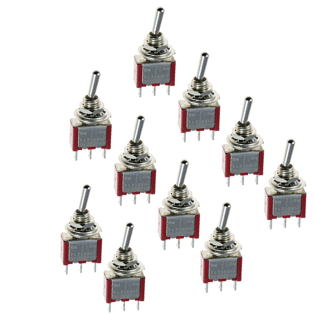 HOUTBY 10 X On/Off/On Mini Small Miniature Toggle Switch Car Motor Dash Dashboard SPDT 3Pin Metal