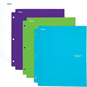 Five Star 2 Pocket Folders with Prong Fasteners, Folders with Pockets, Plastic, Teal, White, Purple, Lime, 4 Pack (38126)