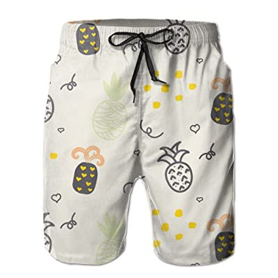 Weeben Casual Beach Shorts for Men, Cute Pineapple Quick Dry Beach Pants with Pockets