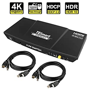 TESmart Newest HDMI KVM Switch 2 Port 4K@60Hz Ultra HD 2x1 with 2 Pcs 5ft KVM Cables Supports Keyboard & Mouse Pass Through USB 2.0 Device(Black)