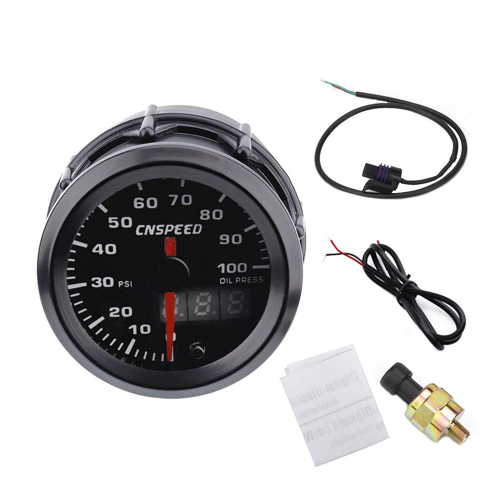 AUWU 12V 7 Colors Pointer Meter Design Car Oil Pressure Gauge Universal Pointer Meter Digital Display by AUWU