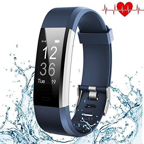 Fitness Tracker, Kybeco Elegant Waterproof Heart Rate Monitor Activity Tracker Bluetooth Wearable Wristband Wireless Step Counter Smart Bracelet Watch for Android and IOS Smartphones (Blue)