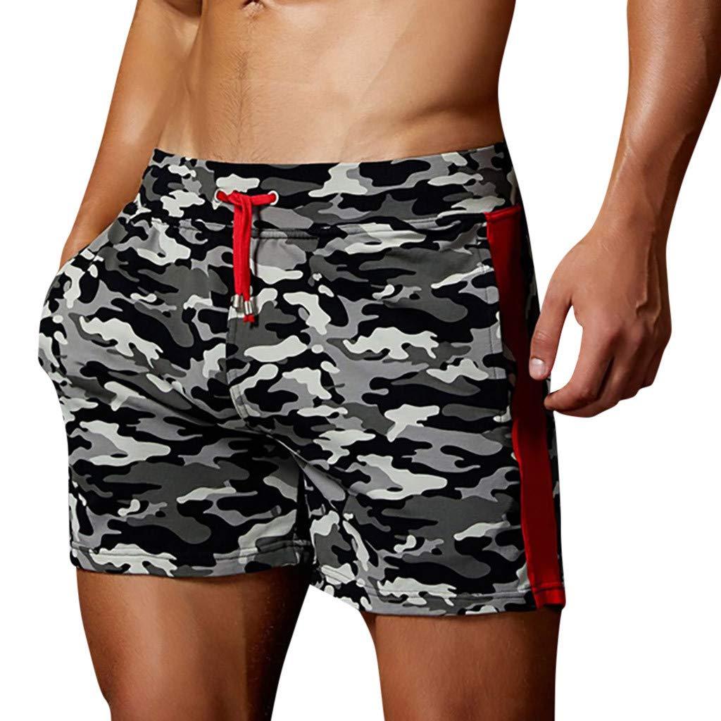 Cuekondy Men 2019 Summer Fashion Camouflage Swim Trunks Beach Board Shorts Casual Quick Dry Running Sports Short Pant(Gray,L)