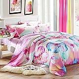 SAYM Home Bedding Sets Modern Fashion 3D Effect Digital Print Tencel Big Version Flower Set For Lovely Princess Teen Girls, Lady, Duvet Cover & Flat sheet & Pillow Case,4 Pieces,King Size