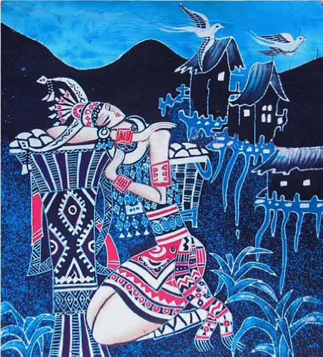 Chinese Batik (Chinese Batik Folk Tribal Art Painting 40 x 45cm Wall Hanging Home Room Decor #131 - FREE)