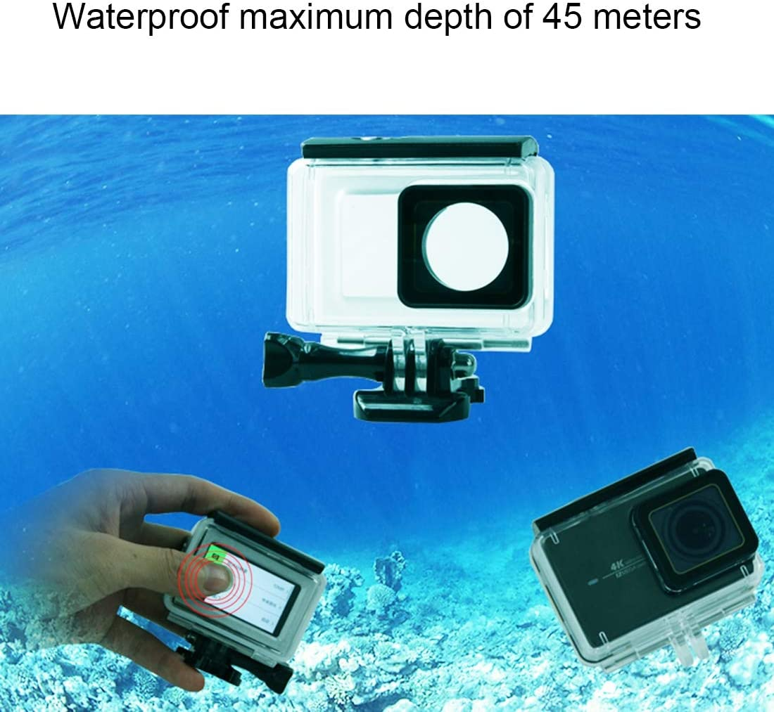 YINZHI Housing Case Touch Screen Waterproof Housing Protective Case with Buckle Basic Mount /& Screw for Xiaomi Xiaoyi II 4K Camera Waterproof Depth 45m Underwater Protective Cage