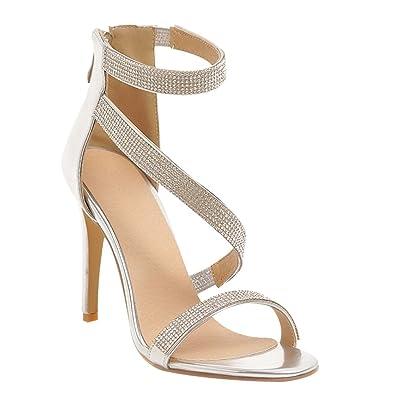 5e535977792321 MissSaSa Femmes Sandales Bout Ouvert Chaussures Soirée Bride Cheville (34,  Argent)