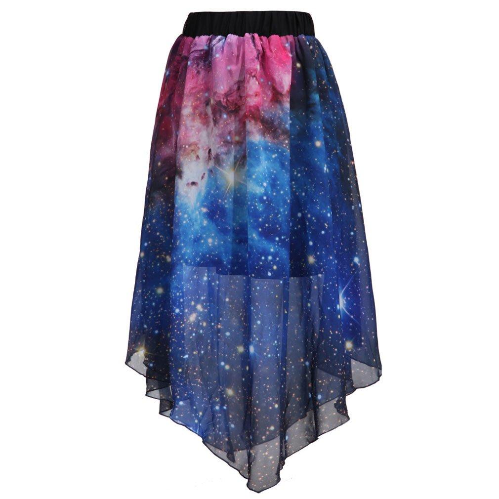 SAYM Women Pleated Chiffon Galaxy Cosmic Digital Printed Skirts