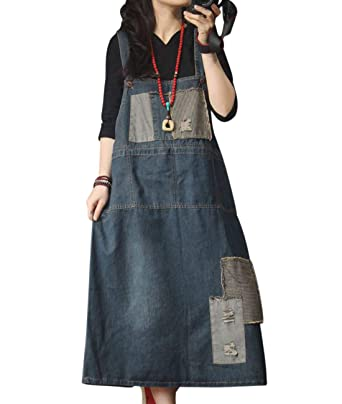 1dfbf3089d3a YESNO Women Fashion Casual Overall Denim Dress Striped Color Block Patched  Midi A Skirt Back Slit