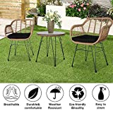 Three Sets of Balcony Tables and Chairs, Rattan