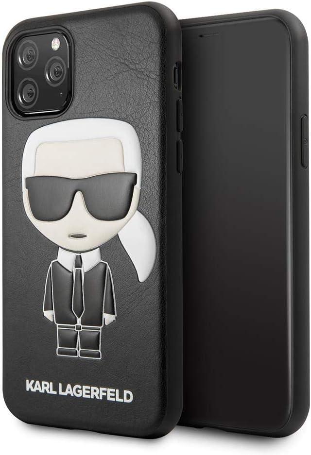 Funda de Piel sint/ética para iPhone 11 Pro con Logotipo de Ikonik en Relieve CG MOBILE Karl Lagerfeld Color Negro