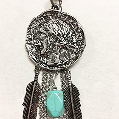 Cowgirl western rodeo coin pendant necklace with feather and turquoise