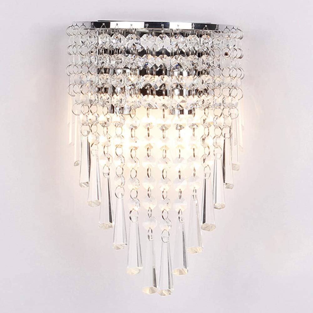 ZONA Elegent European Crystal Wall Lamp Living Room Bedroom Bedside Lamp Simple Modern Creative Personality Toilet Restaurant Aisle Corridor Stair Bracket Light Cozy (Color : Silver) by ZONA