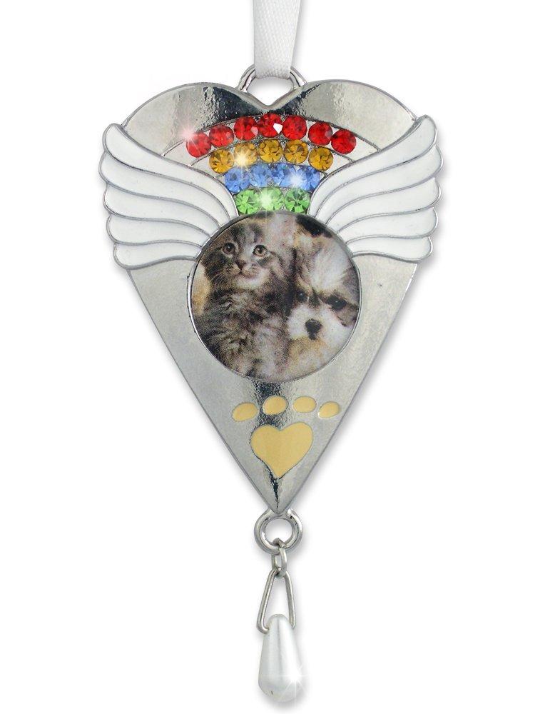 Rainbow Bridge Pet Memorial Ornament - Silver Heart Shaped Photo Ornament with Rainbow Crystals - Rainbow Bridge Poem Printed on Gift Box
