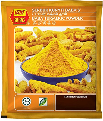 Malaysia Brand/Baba's Turmeric Powder/Spice Up Food/Earthly Gingery Bitter/Mildly Aromatic/Scents of Orange Ginger/Classic Addition To Curries, Chutneys, Pickles & Relishes/125g