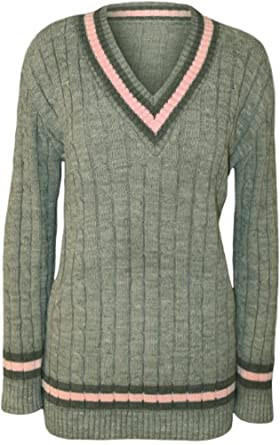 917644e5603 Comfiestyle New Women s V Neck Plus Size Ladies Full Sleeve Cable Knitted  Cricket Jumper. UK