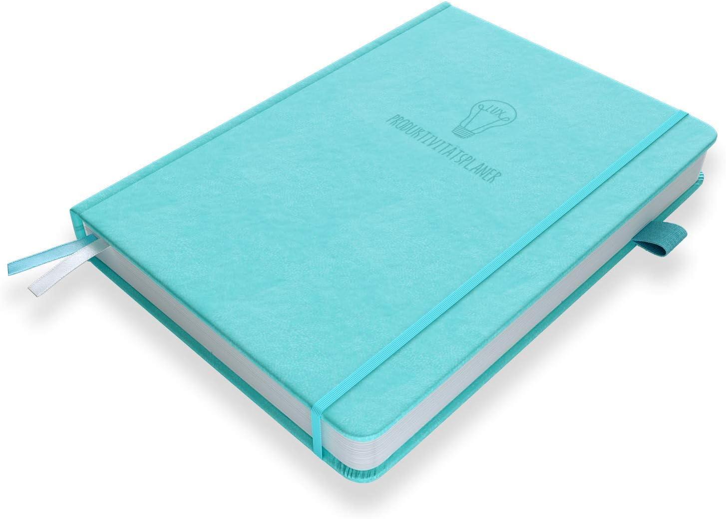 Dankbarkeit /& Zufriedenheit steigern DIN A5 Undatiertes Tagebuch//Organiser mit Tagesplan /& Reflexionstagebuch Zeit//Projekte//Finanzen managen LUX Produktivit/ätsplaner Ziele setzen Himmelblau