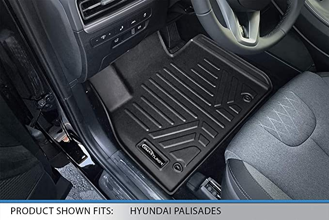 SMARTLINER All Weather Custom Fit Floor Mats 3 Row Liner Set Black for 2020 Hyundai Palisade Fits Bench and Bucket Seats