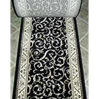 150278 - Rug Depot Radici Como 1599 Black Traditional Hall and Stair Runner - 26 Wide Hallway Rug Runner - Custom Sizing - Black Background - Choose Your Length - 26 x 23 feet