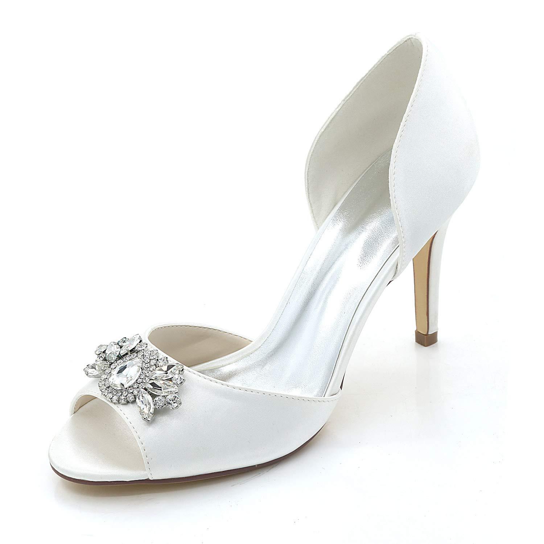 blanc JRYYUE Chaussures de Mariée Mariage Escarpins pour Femme Satin Strass Cristal Bout Ouvert Pointu Open Toe Fait à la Main 9CM Chaussure Fille de Mariage