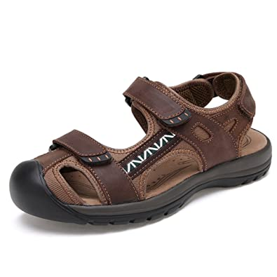 455b2d0e8688 ZHShiny Men Leather Sports Sandals Summer Beach Outdoor Fisherman Athletics  Walking Hiking Sandal Shoes Dark Brown