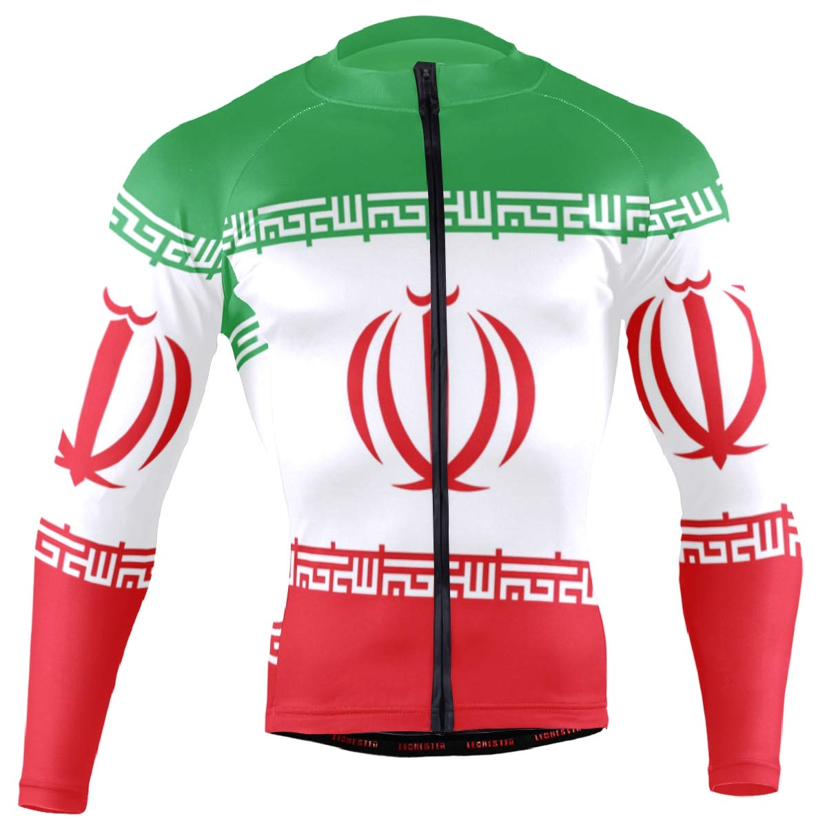 CHINEIN Men's Cycling Jersey Long Sleeve with 3 Rear Pockets Shirt Iran Flag