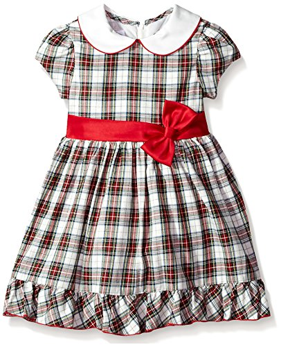 Bonnie Jean Girls' Little Collared Cotton Dress, red/Black/Green Plaid, 6