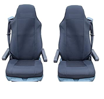 Fabulous 2X Premium Black Fabric Tailored Seat Covers For Daf Xf95 Caraccident5 Cool Chair Designs And Ideas Caraccident5Info