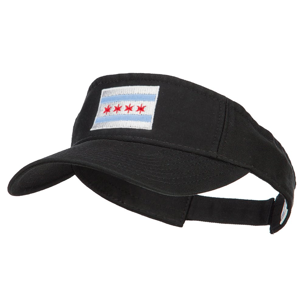 Chicago City Flag Embroidered Pro Style Cotton Washed Visor - Black OSFM by e4Hats.com (Image #1)