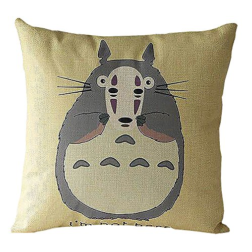 Price comparison product image ME COO 2016 Vintage Cartoon Blend Decoration Pillow Case Cute Cartoon Totoro cat Cushion Home Sitting Room Office Zipper Decorative Throw Pillows cojines 17 Inches 17 Inches (ME-BZX-117)
