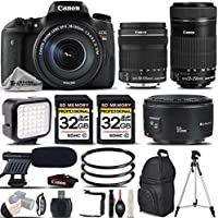 Canon EOS Rebel T6s DSLR Camera + 18-135 IS STM Lens + Canon EF-S 55-250mm IS STM Lens + Canon EF 50mm f 1.8 II Lens + Shotgun Microphone - All Original Accessories Included - International Version