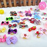 Adarl 100 Pcs Handmade Grooming Accessories Products Bow Hair Flower Bowknots For Puppy Pet Dog Cat