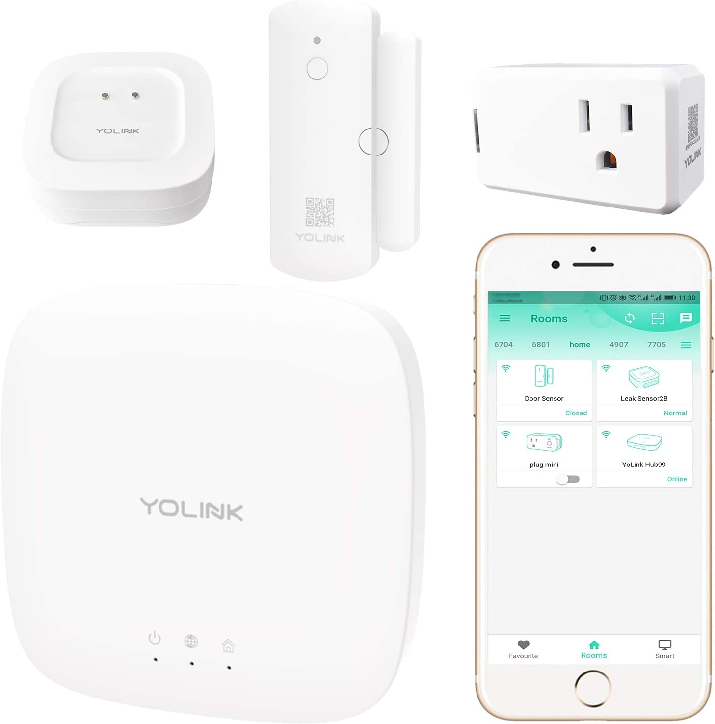 Smart Home Starter Kit, YoLink 1/4 Mile World's Longest Range Wireless Door Sensor, Water Leak Sensor, and Smart Plug Compatible with Amazon Alexa IFTTT, Smart Home Security Kit, YoLink Hub Included