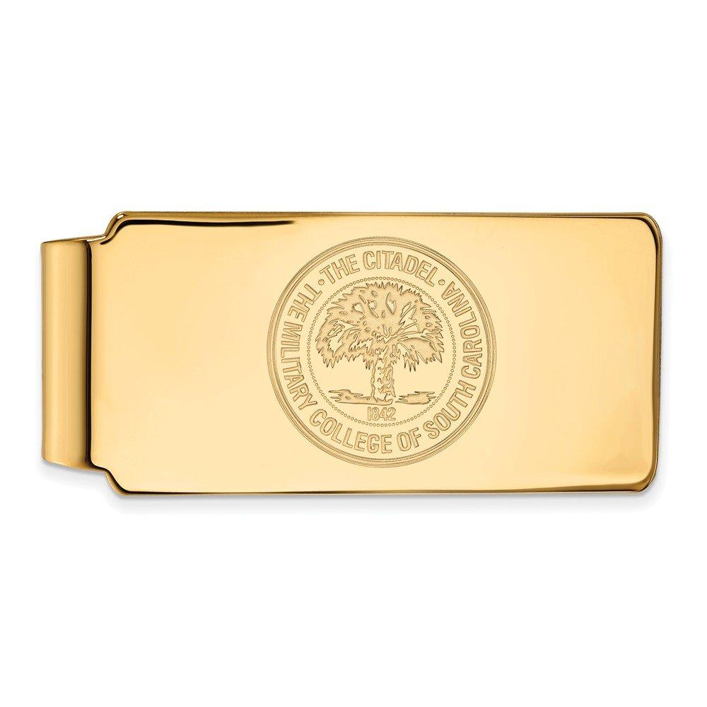 14k Yellow Gold LogoArt Official Licensed Collegiate The Citadel Money Clip Crest