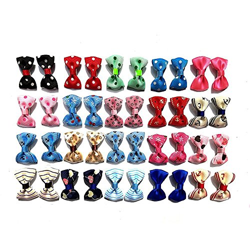 Accessories Pattern (Aoyoho Pack of 40pcs/20pairs Baby Pet Dog Hair Clips Cat Puppy Bows Small Bowknot Pet Grooming Products Mix Colors Varies Patterns Pet Hair Bows Dog Accessories)