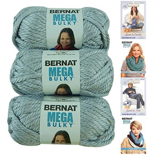 Light Grey Heather (Bernat Mega Bulky Yarn 7.0 Ounce, 3 Pack Bundle, Jumbo #7 Acrylic (Light Grey Heather))