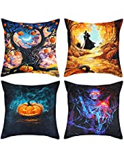 Qpout 4 Pack Halloween Pillow Covers, Pumpkin Skull Maple Leaf Witch Design Linen Empty Pillowcase, Trick Or Treat Party Favour Home Sofa Bed Living Room Decoration, 17.3x17.3 in