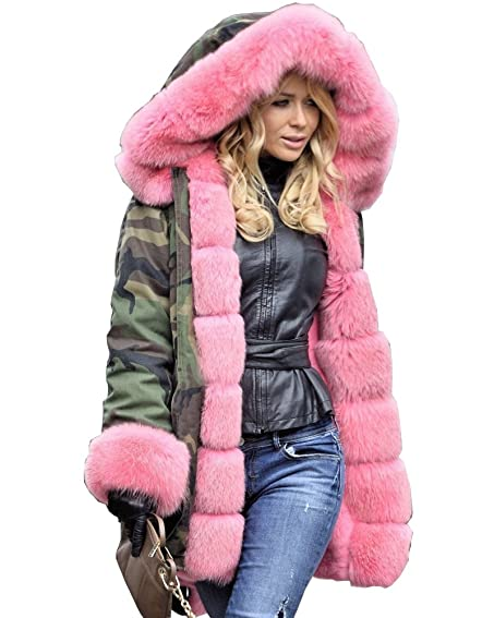 Roiii Women Militray Outdoor Parka Hoodie Fur Lining Jacket Coat ...