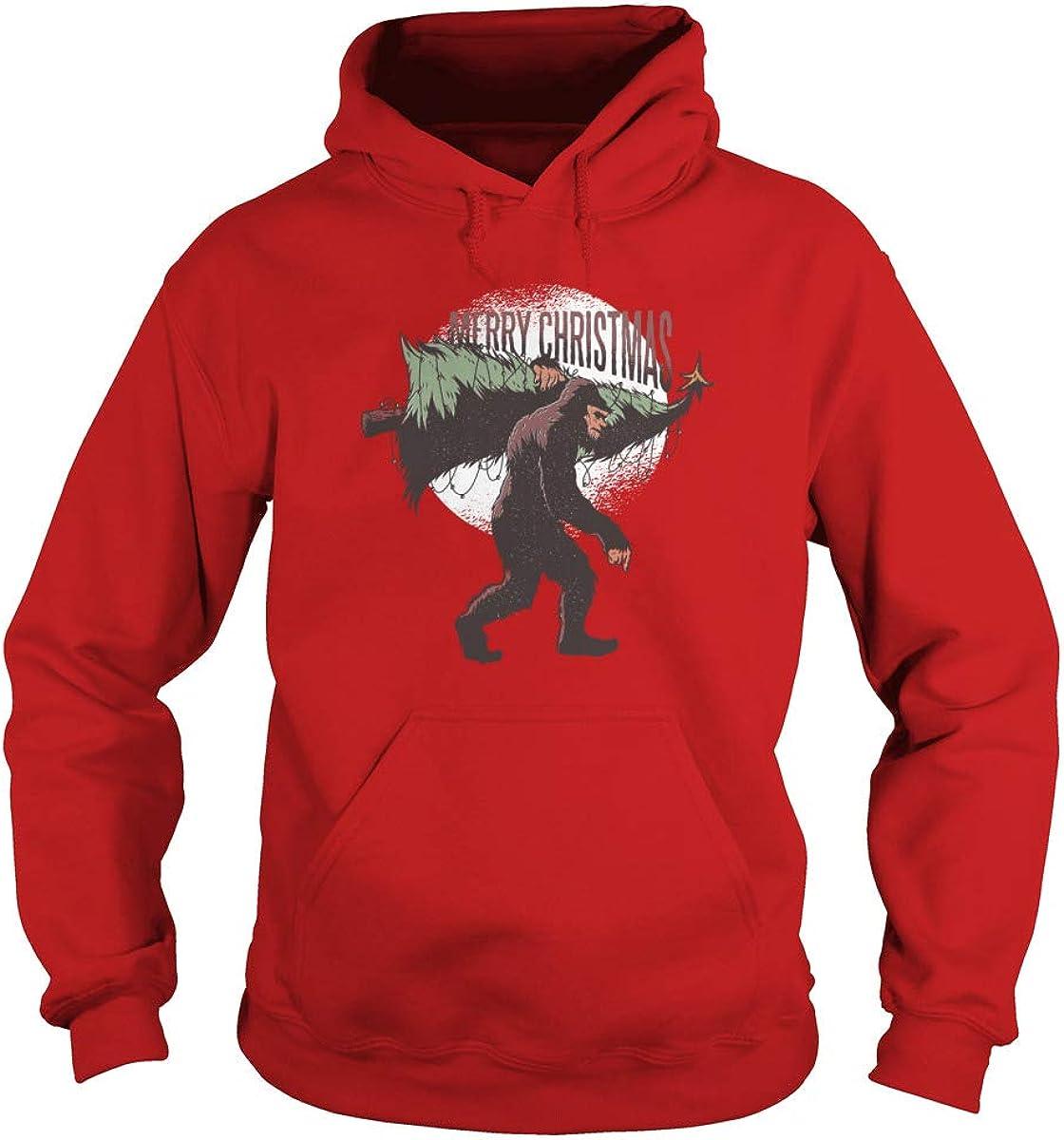 Bigfoot Stealing Christmas Tree Adult Hooded Sweatshirt